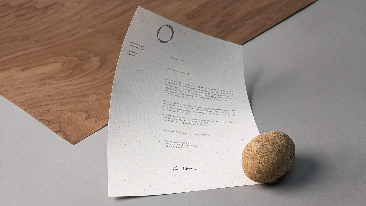 Logo and headed paper by Sagmeister & Walsh for contemporary restaurant Otium