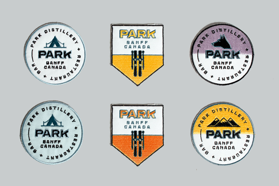 Badges and visual identity for Canadian restaurant and distillery Park by Glasfurd & Walker