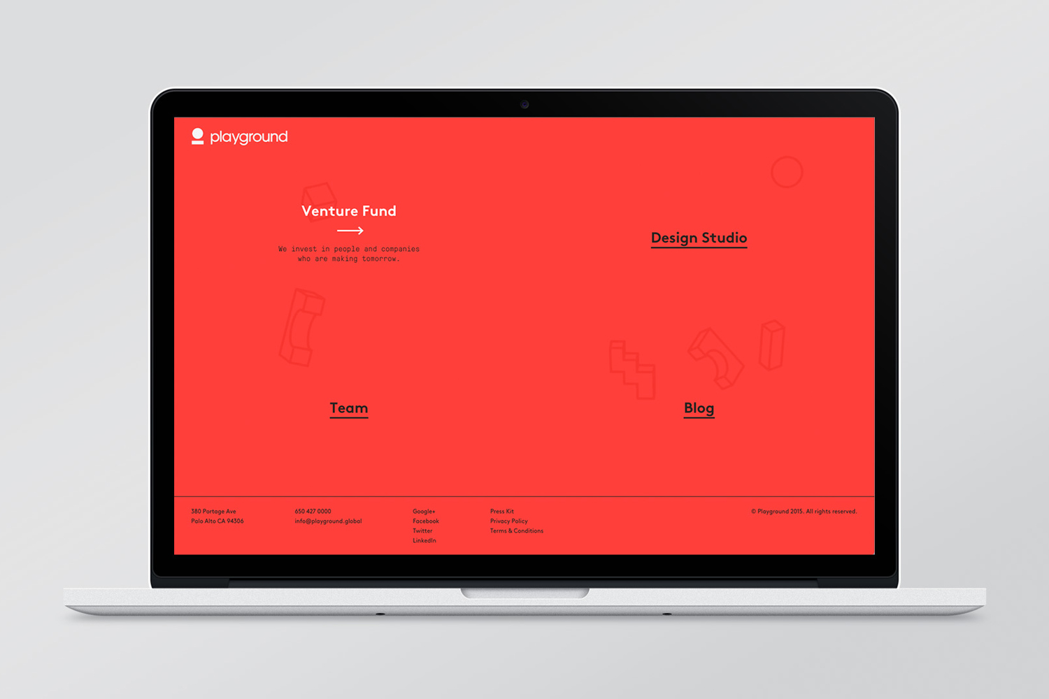 Brand identity and website for venture fund and start-up studio Playground by Character