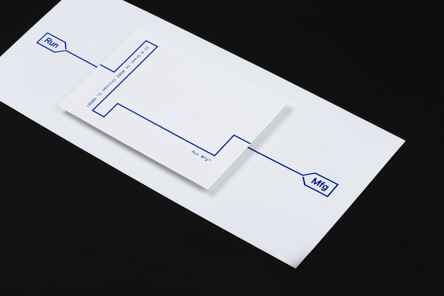 Brand identity and stationery by Perky Bros for Chicago-based independent race design and production company Run Mfg