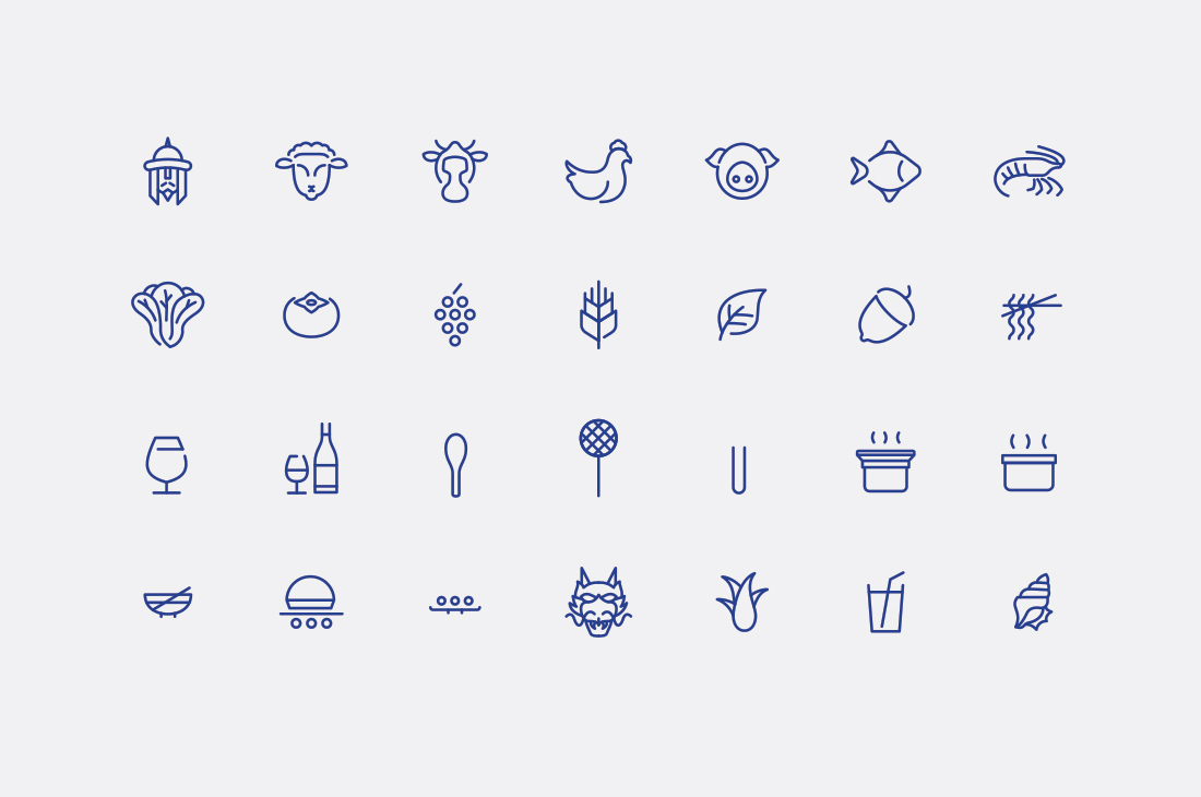 Monolinear iconography for London's contemporary hotpot restaurant Shuang Shuang by ico Design, United Kingdom