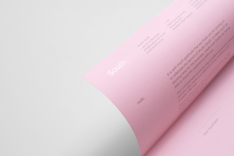 Pink headed paper with white ink detail for Auckland based graphic design business Studio South