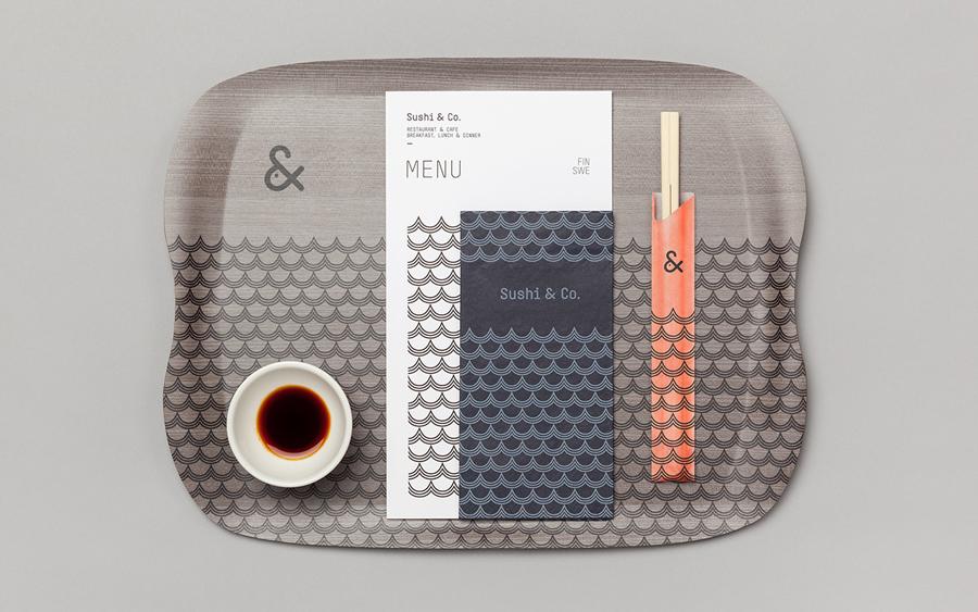 Visual identity, menus and napkin for Baltic Sea cruise ship restaurant Sushi & Co. designed by Bond