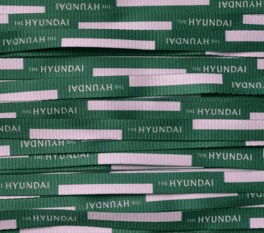 Branded ribbon for South Korean department store The Hyundai by graphic design company Studio fnt