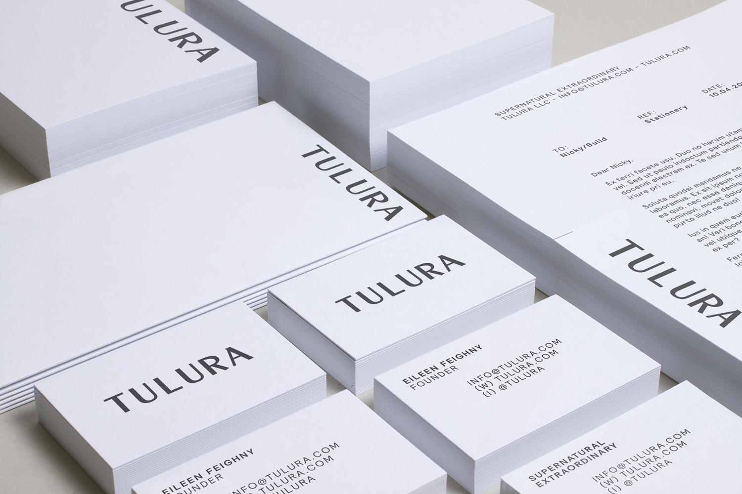Brand identity and stationery by Leeds-based design studio Build for New York skincare brand Tulura
