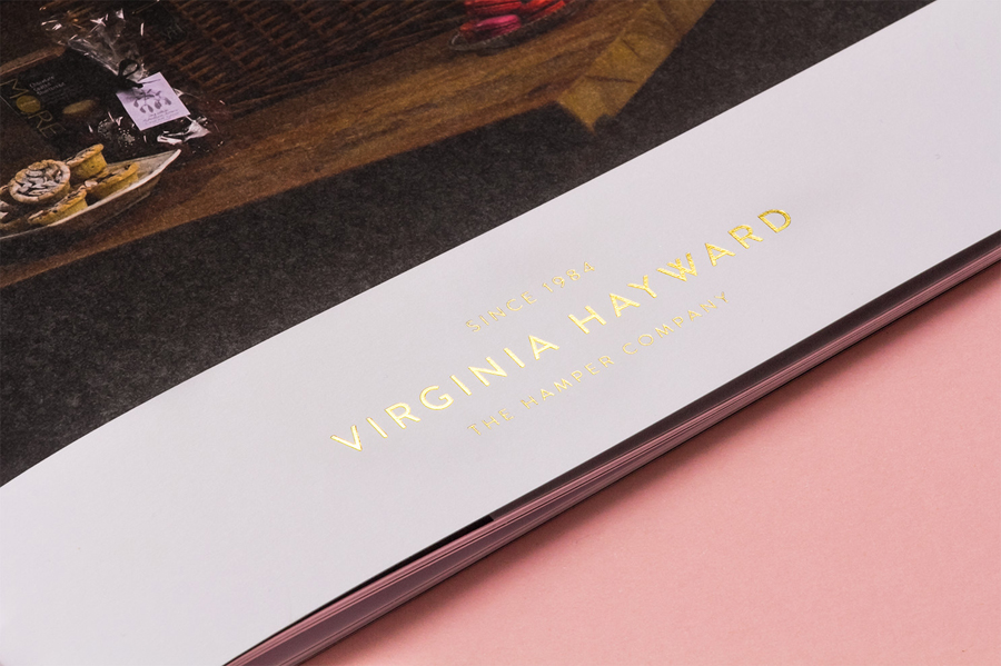 Gold foiled brochure designed by Salad for British hamper business Virginia Hayward