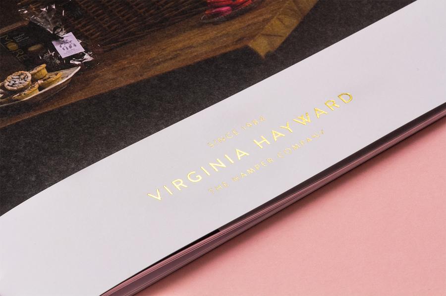 Gold foiled brochure designed by Salad for British hamper business Virginia Hayward