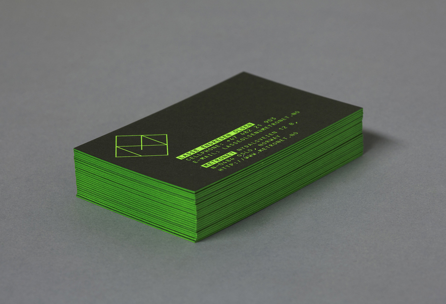 Edge painted business card design for digital development company Metronet by Work In Progress