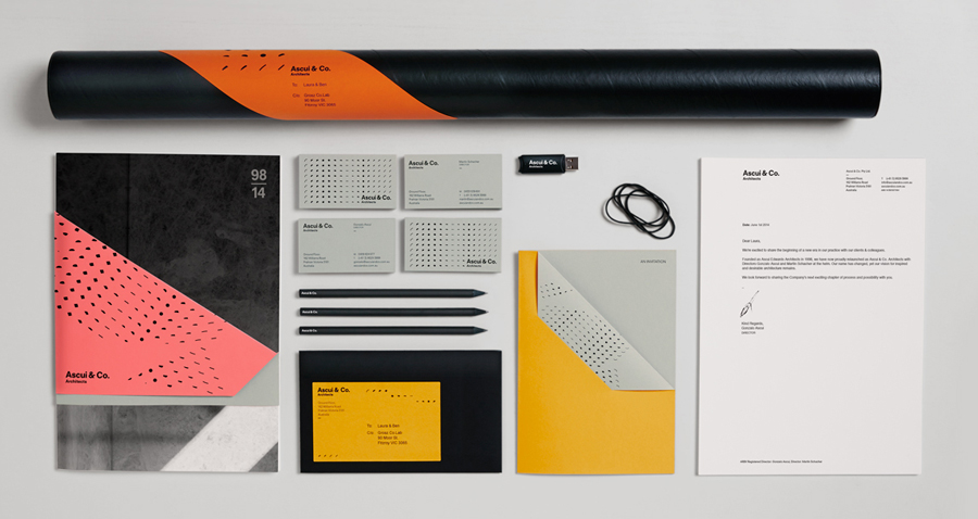 Stationery with block foil, die cut and folded detail by Grosz Co. Lab for architectural practice Ascui & Co.