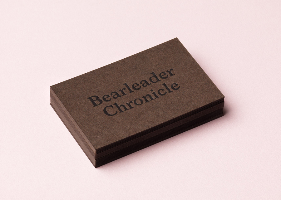 Letterpress business cards for publisher Bearleader Chronicle by The Studio, Sweden
