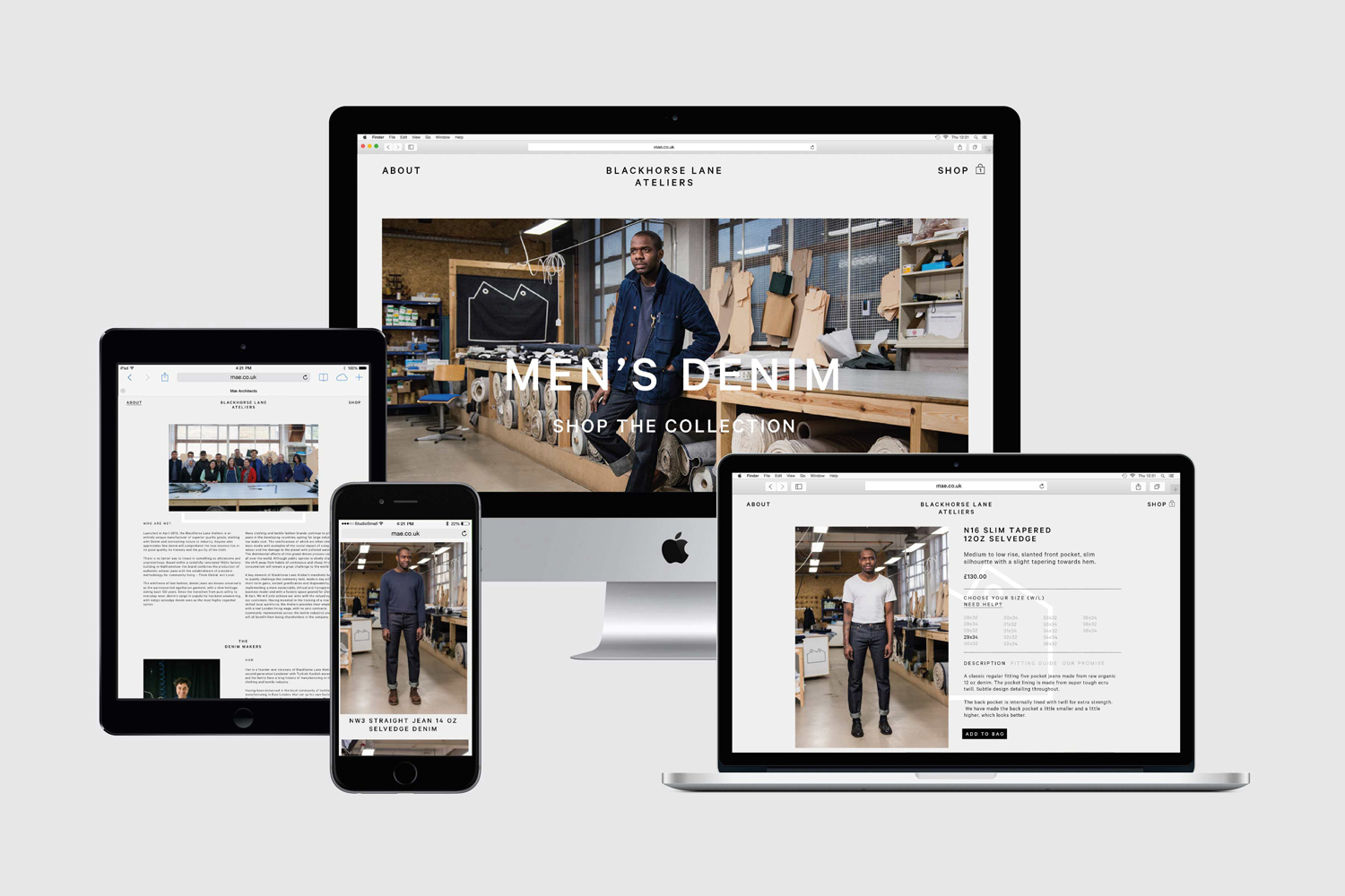 Brand identity and website by StudioSmall for premium selvedge and organic raw denim jeans brand Blackhorse Lane Ateliers.