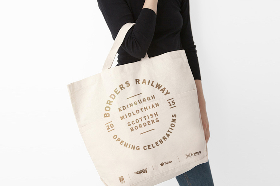 Logo and screen printed tote bag for Borders Railway Opening Celebration by Glasgow based graphic design studio KVGD