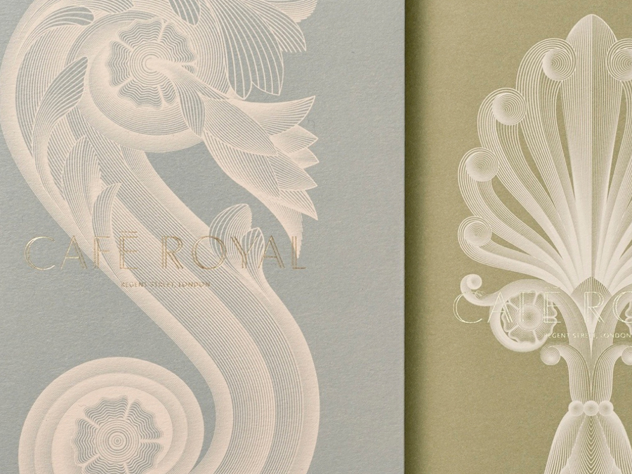 Print with coloured paper and gold foil detail for Cafe Royal designed by Pentagram