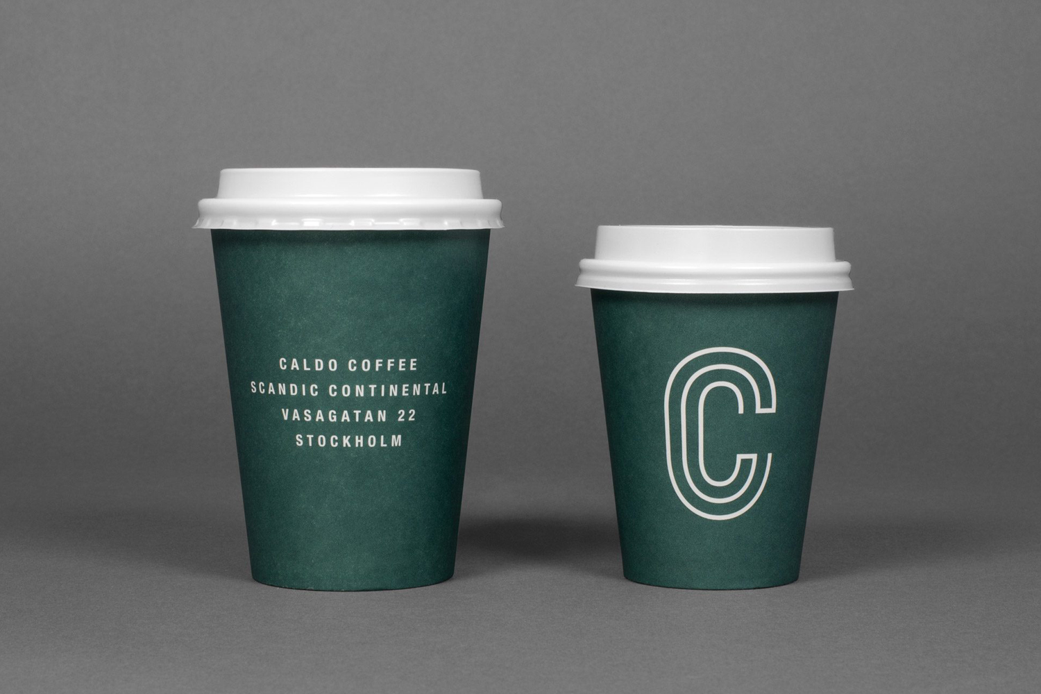 Brand identity, logo and coffee cups designed by 25ah for Stockholm cafe Caldo Coffee at the Scandic Continental
