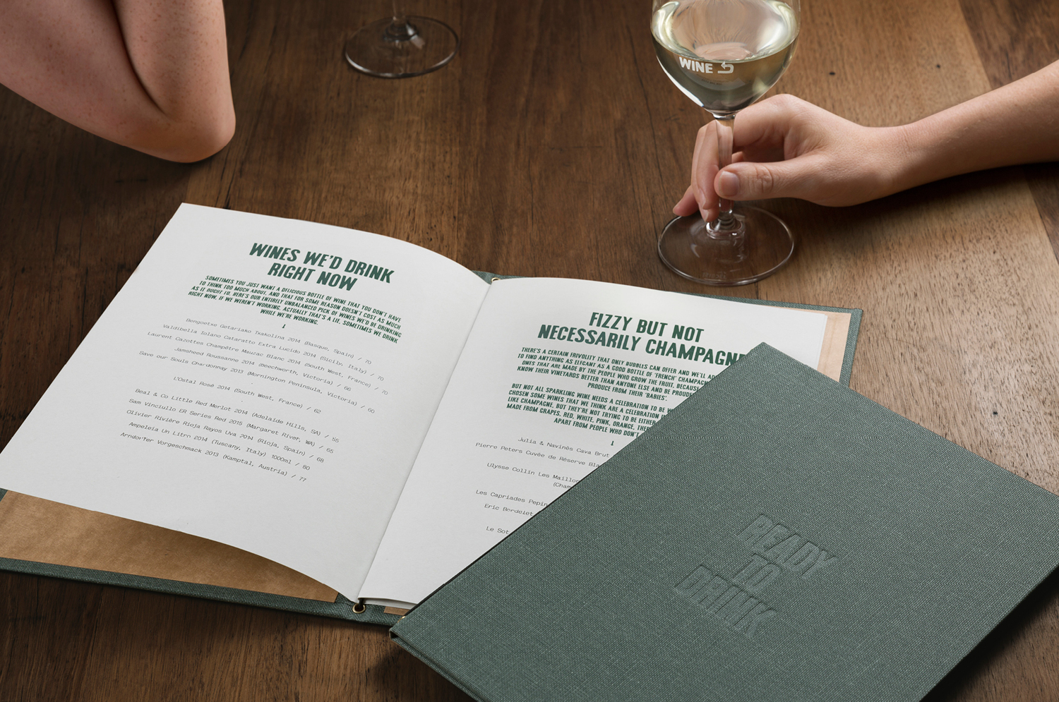 Menu with fabric cover and blind moss detail by A Friend Of Mine for Melbourne restaurant and wine bar Embla