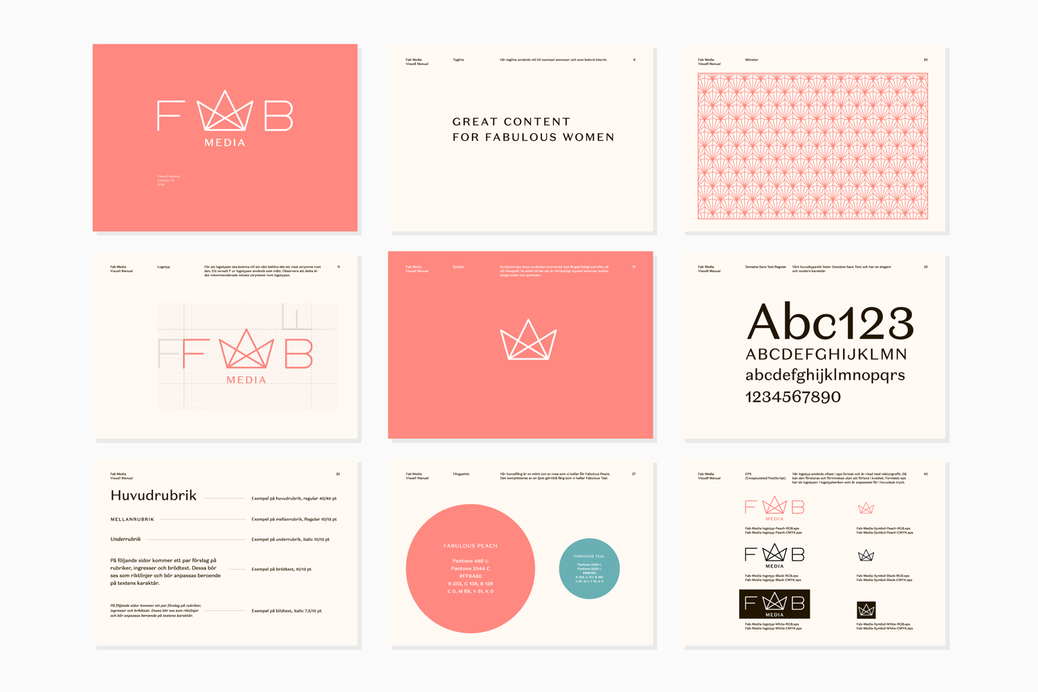 Brand guidelines by Stockholm-based Bedow for Swedish media company Fab Media