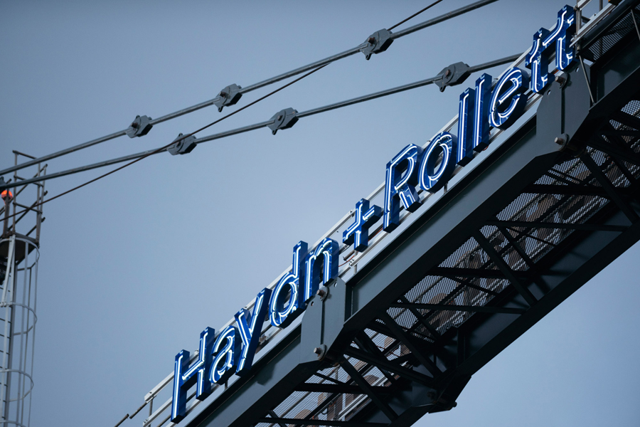 Neon signage for New Zealand construction business Haydn & Rollett by Richards Partners