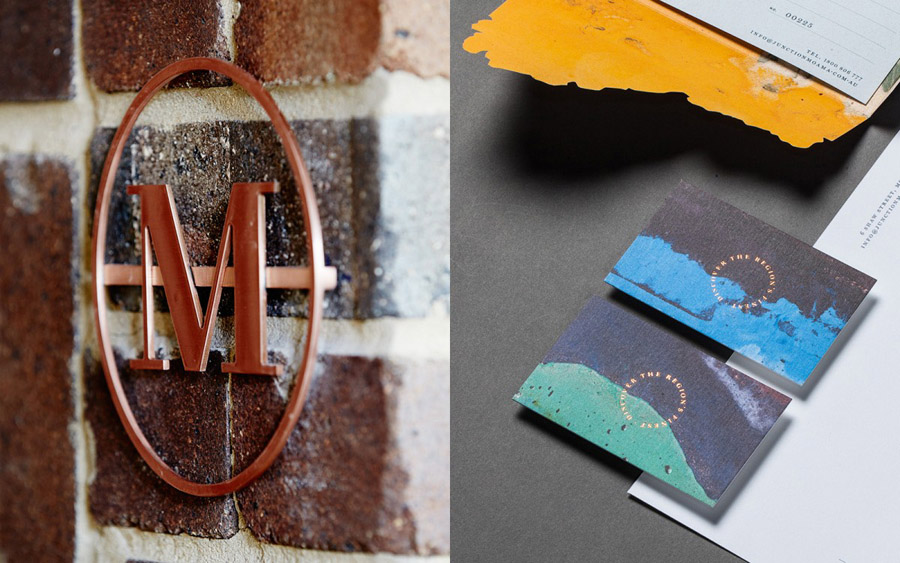 Stationery with die cut and block foil detail for bar and restaurant Junction Moama designed by Seesaw
