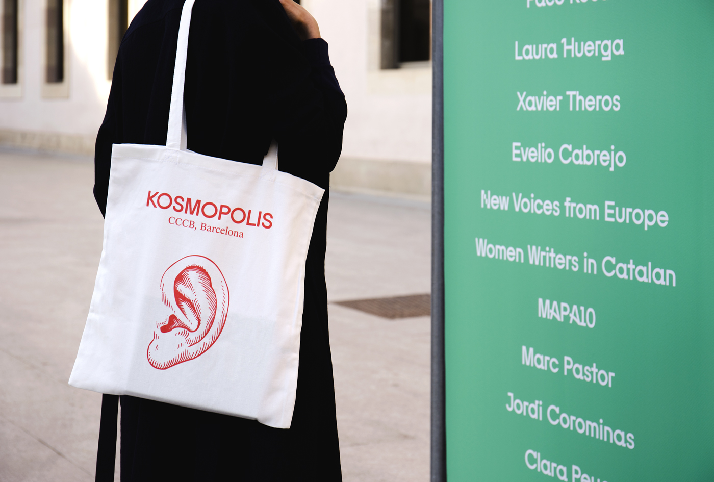 Visual identity and branded tote bag by Hey for Barcelona literature festival Kosmopolis