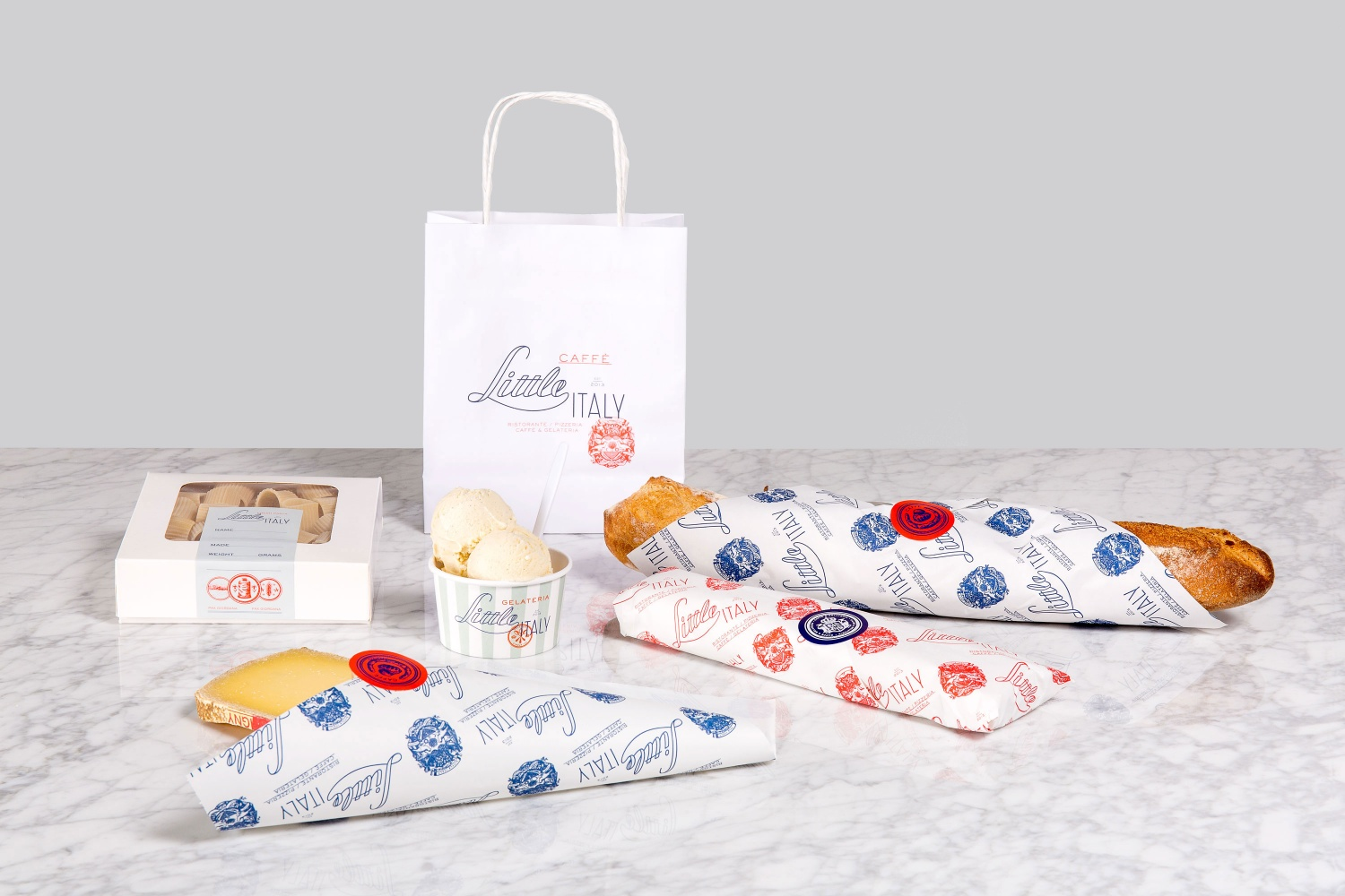 Branding and packaging by British studio Here Design for Amman-based restaurant Little Italy