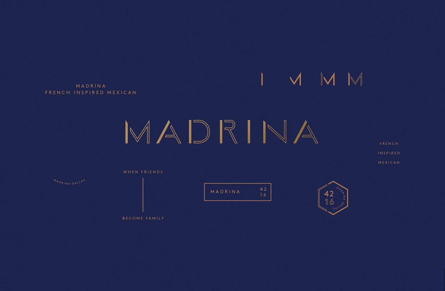 Brand identity and logotype for French inspired Mexican restaurant Madrina designed by Mast
