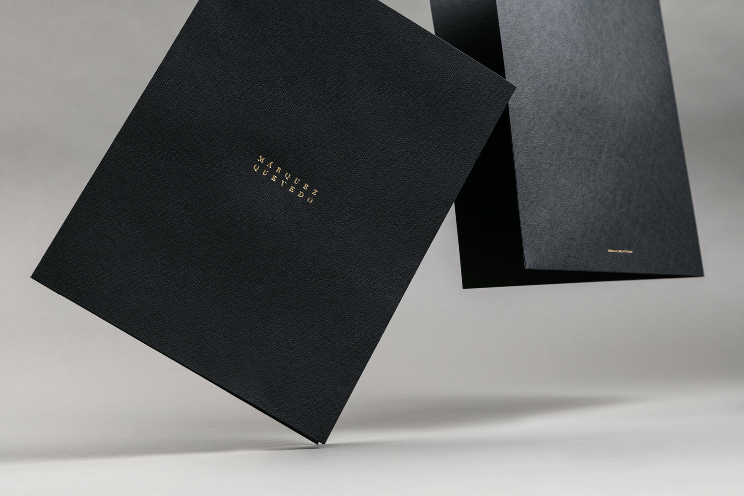 Brand identity and gold foiled folders for Mexican architectural studio Marquez Quevedo by La Tortillería