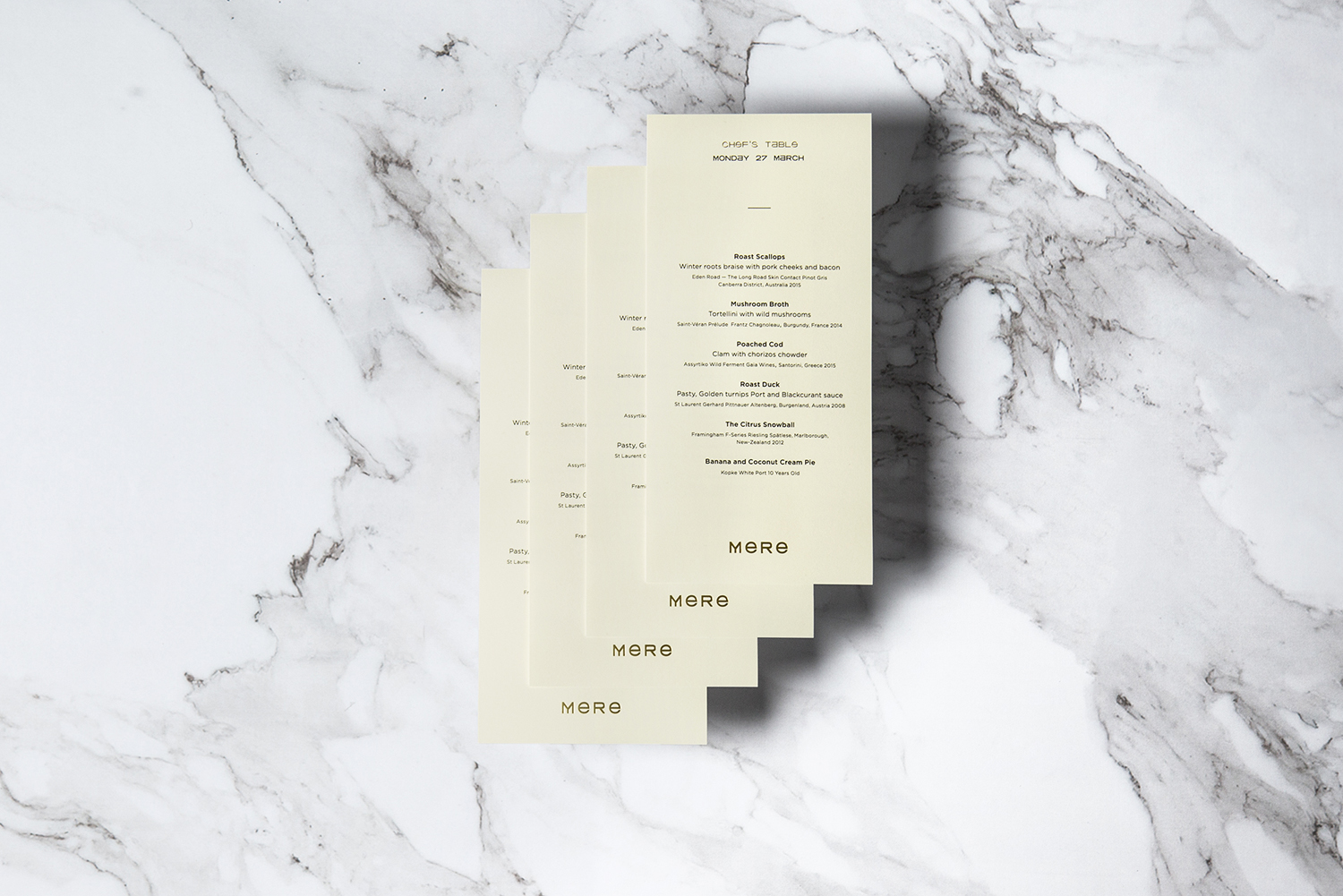 Single sheet menu designed by Bibliothèque for Monica Galetti's new London restaurant Mere