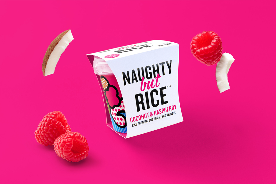 Branding and package design for Naughty But Rice by Leeds based graphic design studio Robot Food via BP&O A Packaging Design Blog.