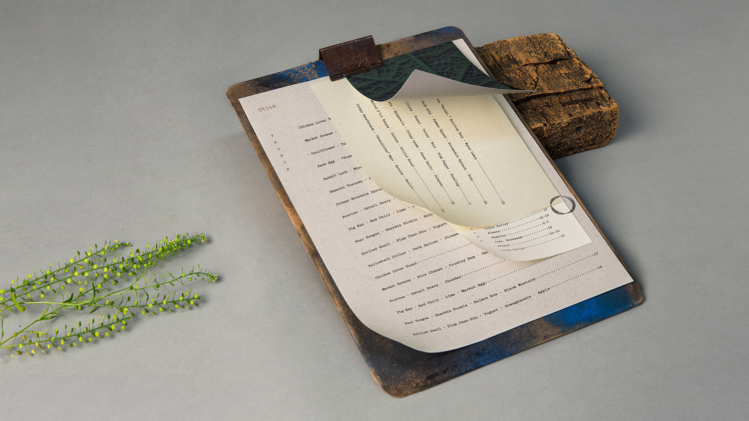 Brand identity and menu designed by Sagmeister & Walsh for contemporary restaurant Otium