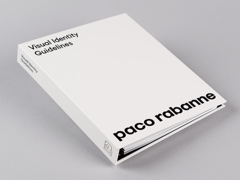 Brand identity document for French fashion label Paco Rabanne by Zak Group, United Kingdom