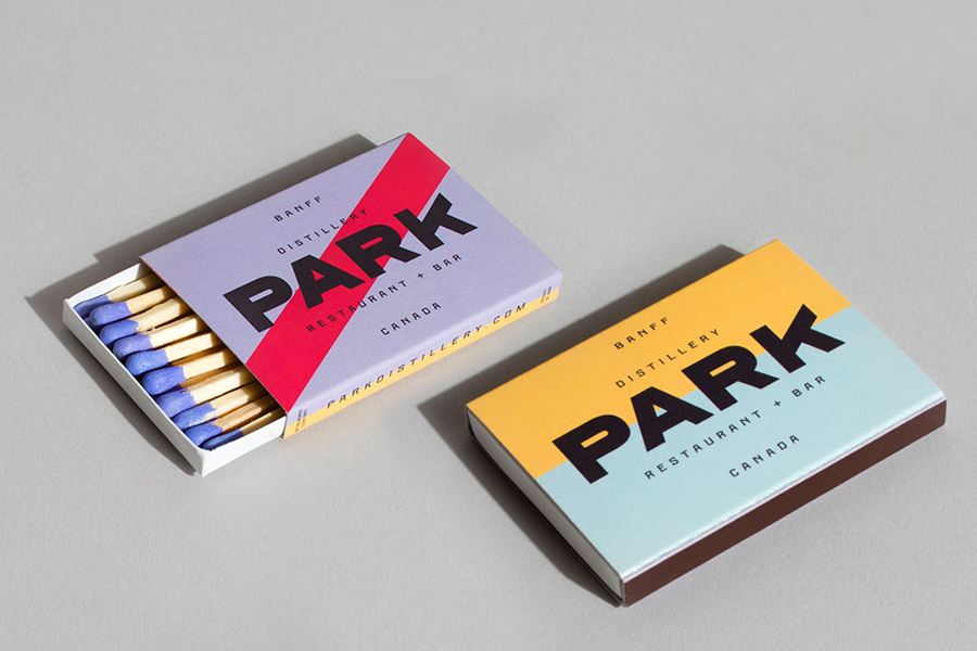 Branded matches for Canadian restaurant and distillery Park by Glasfurd & Walker