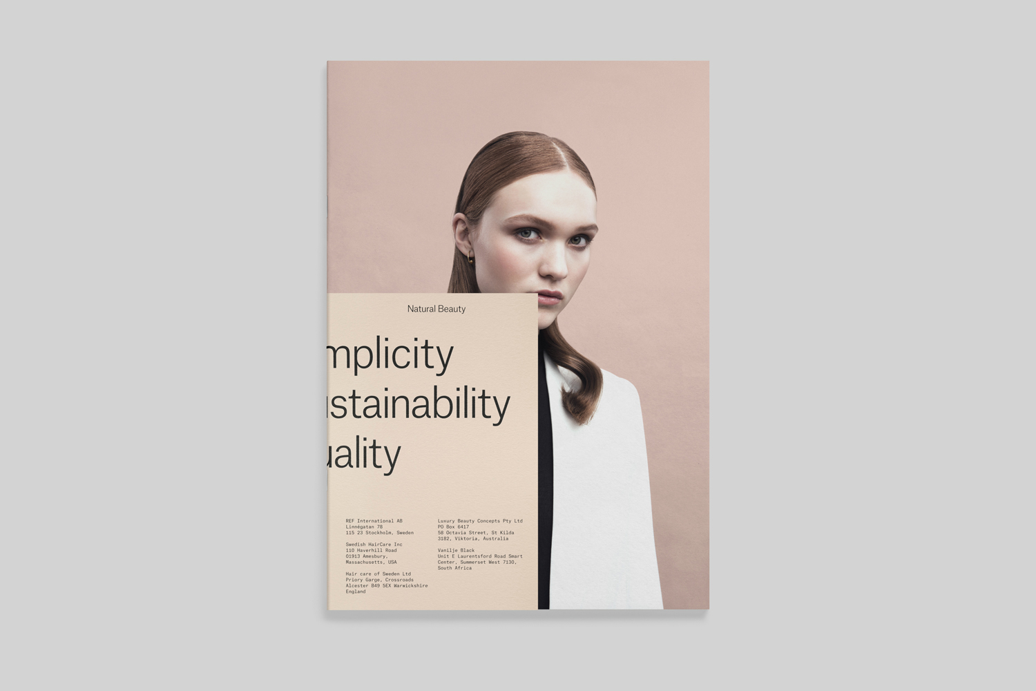 Visual identity and brochure designed by Scandinavian studio Kurppa Hosk for Swedish hair care brand REF