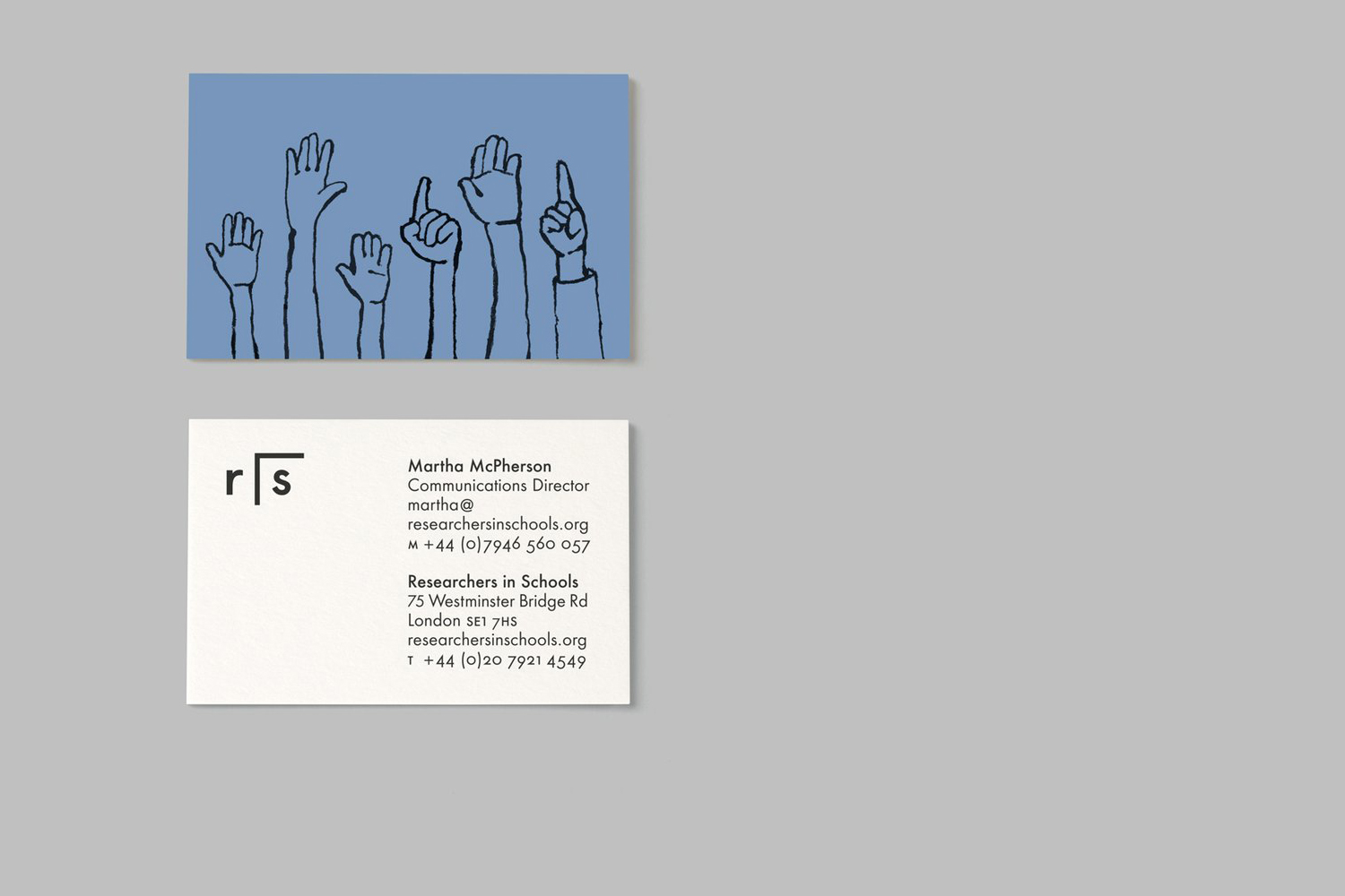 Illustrated business cards for Researchers In Schools designed by Paul Belford Ltd.