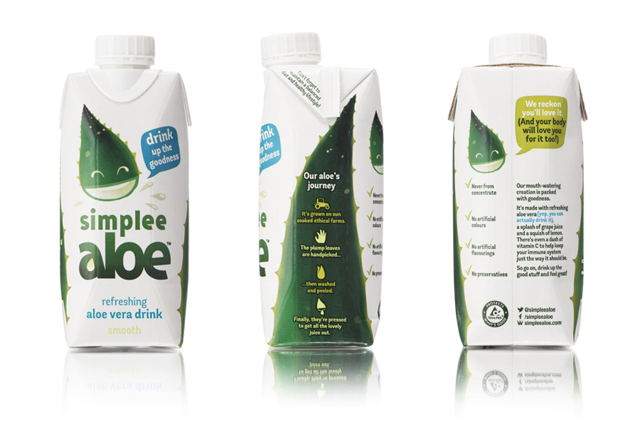 Logo and packaging by Designers Anonymous for aloe vera drink Simplee Aloe
