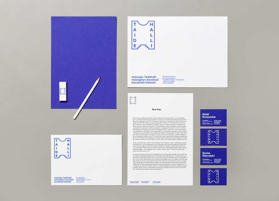 Logo and stationery for Taidehalli by Tsto designed in Helsinki, Finland