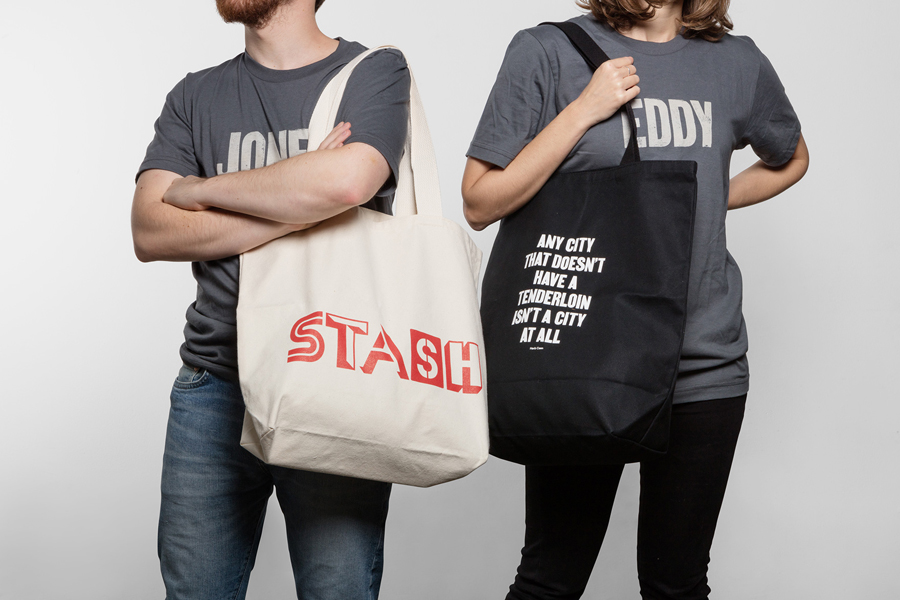 Brand identity, t-shirts and tote bags for Tenderloin Museum by graphic design studio Mucho