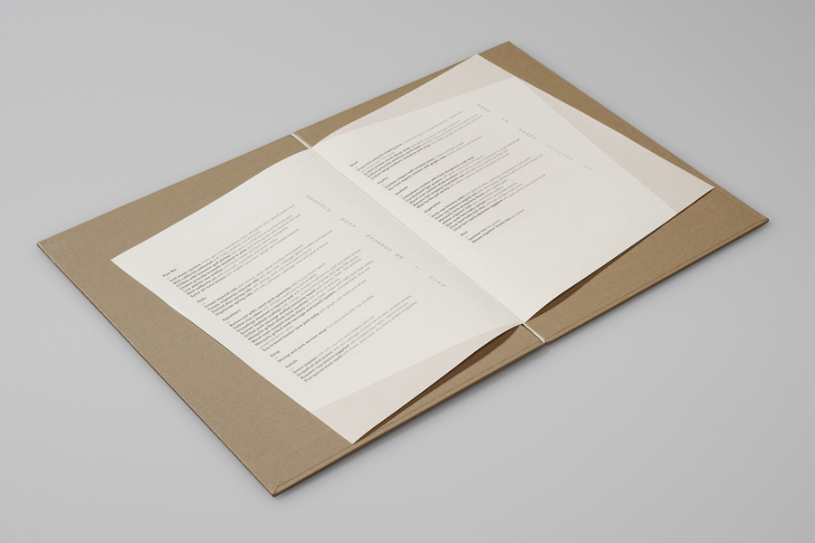Menu with angled interior pages for Vietnamese restaurant The Slanted Door designed by Manual