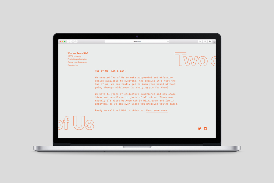 Website by and for British brand identity design studio Two of Us
