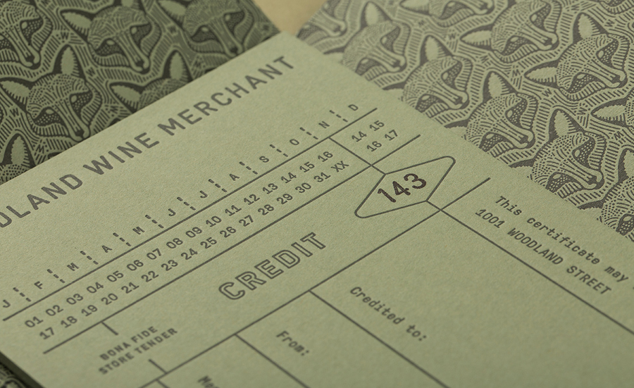 Letterpress print for Nashville based Woodland Wine Merchant by Perky Bros