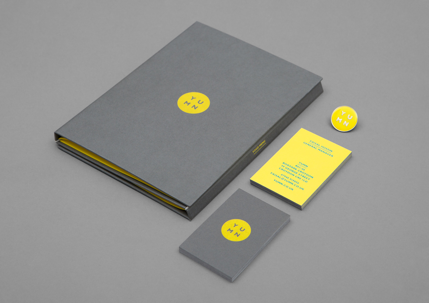 Logo, menu and business card design by Brighton-based Filthymedia for Boxpark Croydon's casual luxury restaurant Yumn