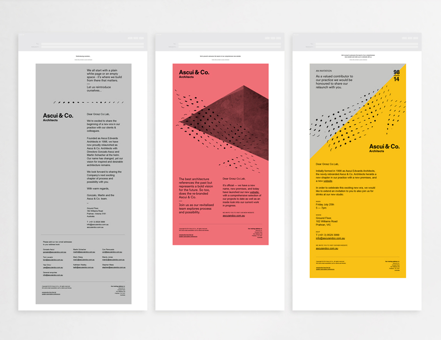 Visual identity by Grosz Co. Lab for architectural practice Ascui & Co.