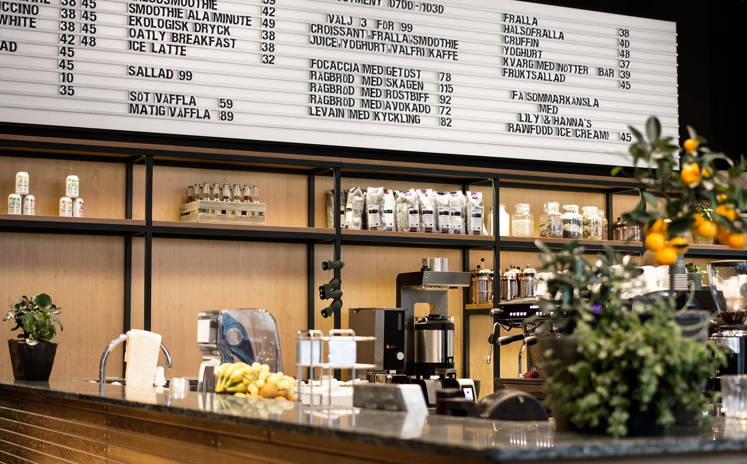 Custom menu board designed by 25ah for Stockholm cafe Caldo Coffee at the Scandic Continental