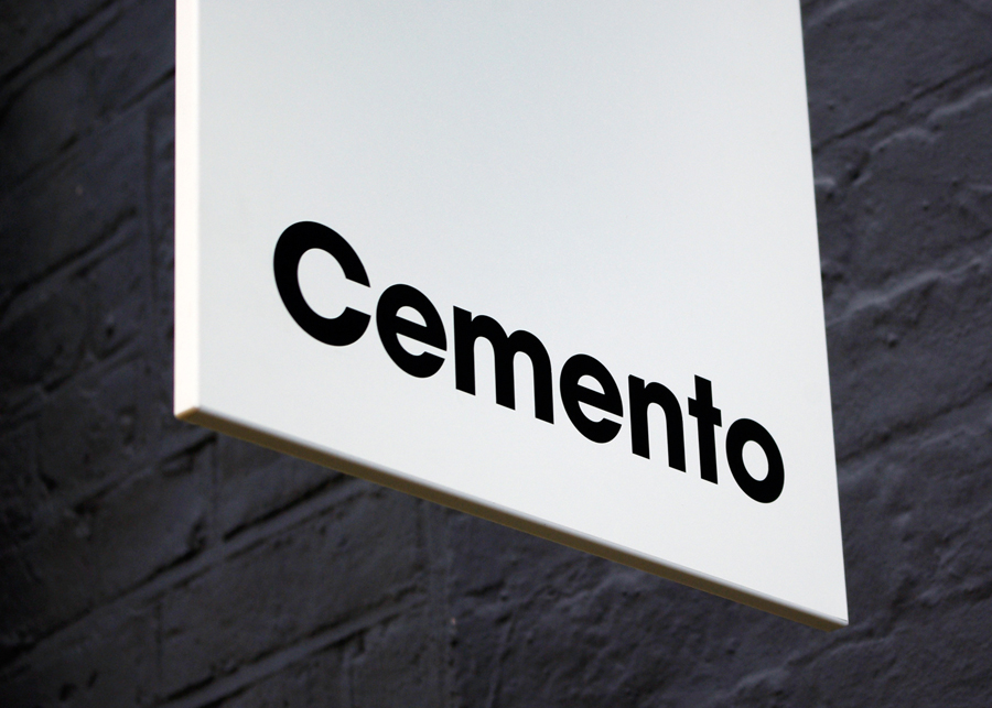 Logo and signage designed by S-T for cement veneer product Cemento featured on BP&O