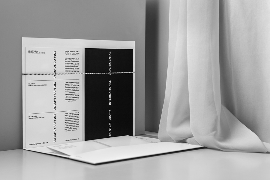 A5 card, document holder, envelope and letterhead by graphic design studio Lundgren+Lindqvist for Edouard Malingue Gallery