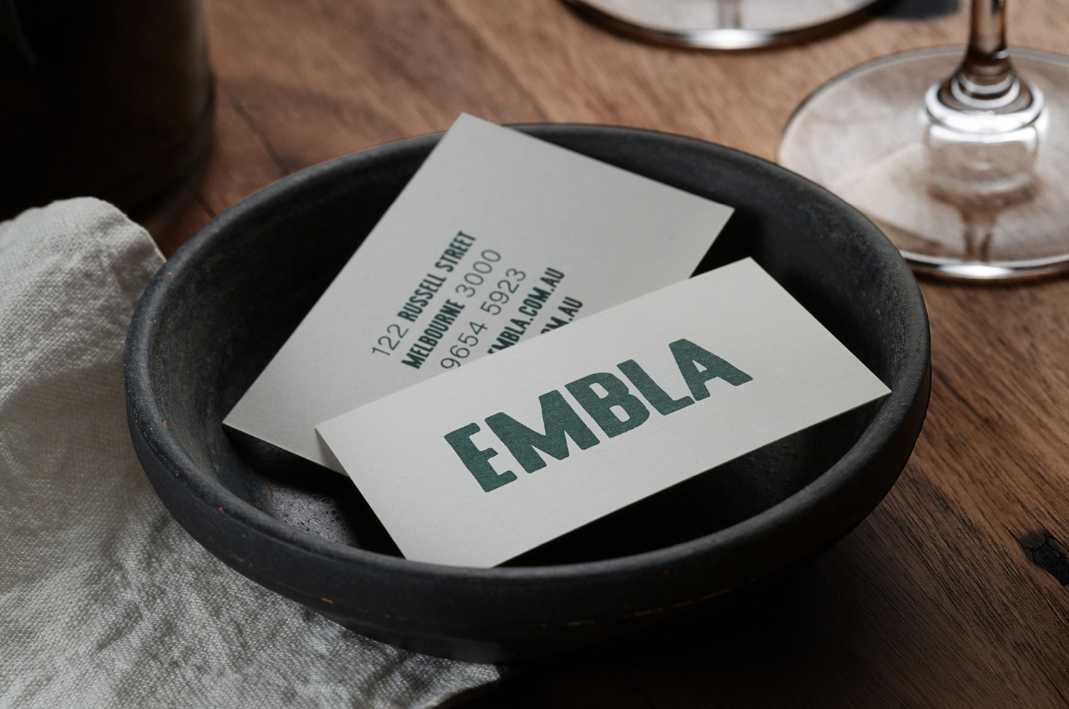 Brand identity and business cards by A Friend Of Mine for Melbourne restaurant and wine bar Embla