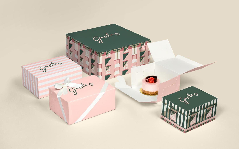 Brand identity and illustrated packaging for Stockholm-based cafe Gretas at Haymarket designed by 25AH, Sweden