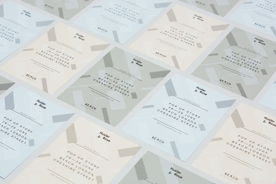 Visual identity and black block foil print for Husler & Rose designed by Post