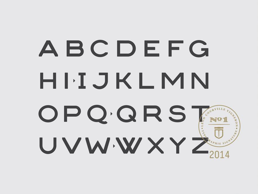 Custom typeface for wine producer Léon Courville Vigneron by lg2 boutique
