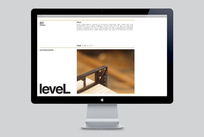 Logotype and website designed by Studio Hi Ho for Level Improvements