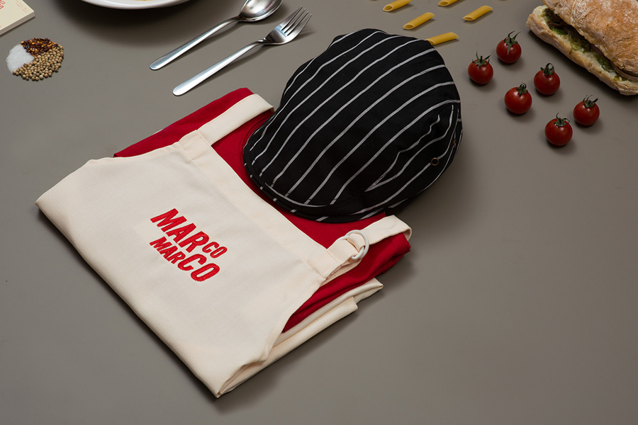 Visual identity and uniform by Acre for Singapore based Italian restaurant brand Marco Marco